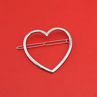Металлический зажим для волос в форме сердца