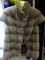 Женский натуральный Меховой жилет из Норки 65  см Светлая фото в Живую