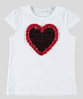 Футболка для девочки LC Waikiki белого цвета с сердцем на груди