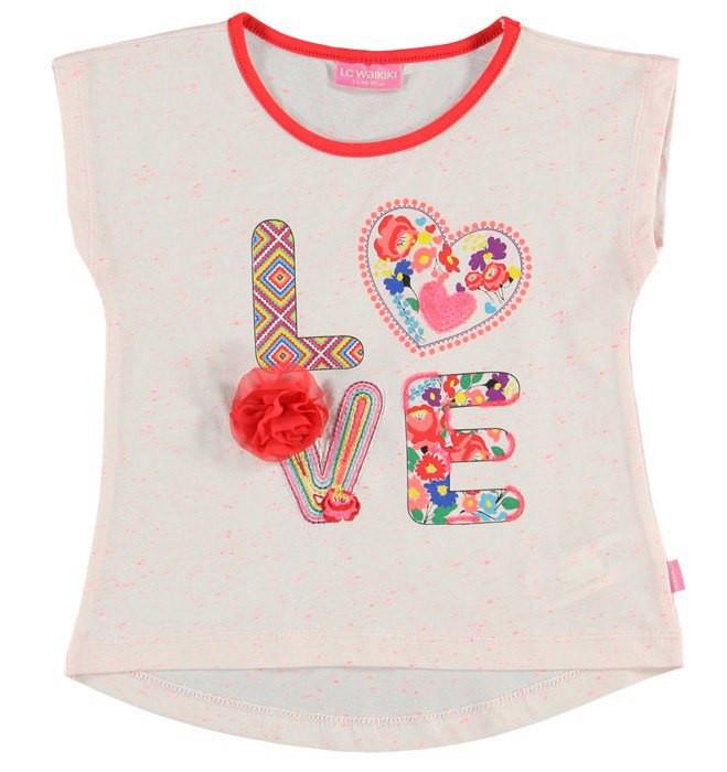 Футболка для девочки LC Waikiki белого цвета с надписью Love