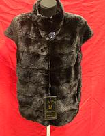 Женский натуральный Меховой жилет из Норки 65  см Темная фото в Живую