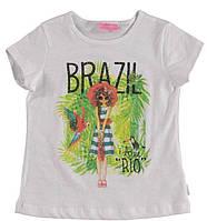 Футболка для девочки LC Waikiki белого цвета с надписью Brazil