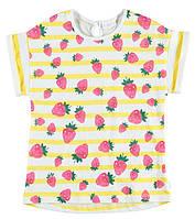 Футболка для девочки LC Waikiki белого цвета в желтые полоски с клубничками