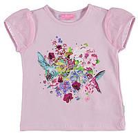 Футболка для девочки LC Waikiki розового цвета с цветами и колибри