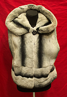 Женский натуральный Меховой жилет  под Шиншилу 55 см с капюшоном