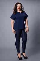 Блуза мод 500-3 размер 50,52,54,56,58 темно-синяя