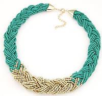 Ожерелье Чешские бусы бирюза/бижутерия/цвет цепочки золото