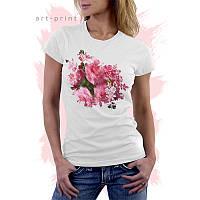 Женская белая футболка с принтом Flower