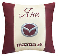 Декоративная подушка в авто с вышивкой Mazda, фото 1