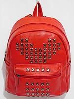 Рюкзак кож.зам шипованный красный, фото 1