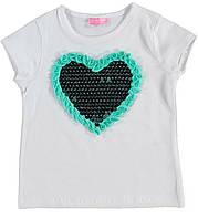 Футболка для дівчинки LC Waikiki білого кольору з блакитним серцем на грудях
