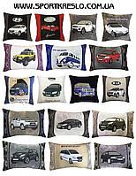 Сувенирная автомобильная подушка с вышивкой логотипа авто подарок корпоративный