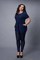 Блуза-туника мод 499-2 размер 48-50,52-54,56-58 темно-синяя