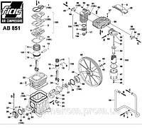 Запчасти на поршневой блок AB 851. Узел насоса AB851. Деталировка компрессора РМ3106 AB 851.