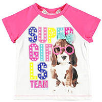 Футболка для девочки LC Waikiki белого цвета с розовыми рукавами и собачкой