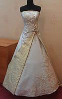 Необычное бело-золотое свадебное платье, размер 40-44