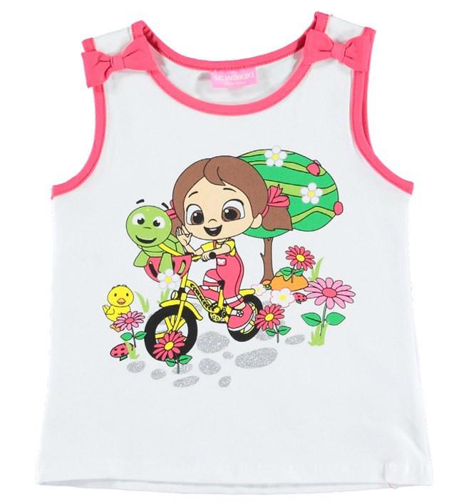 Майка для девочки LC Waikiki белого цвета с девочкой на велосипеде