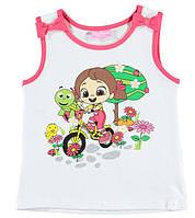 Майка для девочки LC Waikiki белого цвета с девочкой на велосипеде 2-3(рост 92-98)