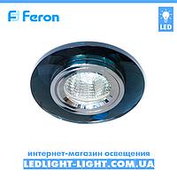 Врезной точечный светильник Feron 8050-2 стекло, черный хром