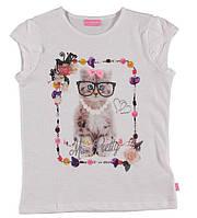 Футболка для девочки LC Waikiki белого цвета с котиком на груди