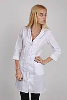 Белый медицинский халат с воротником