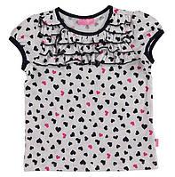 Футболка для девочки LC Waikiki белого цвета в черные и розовые сердечки