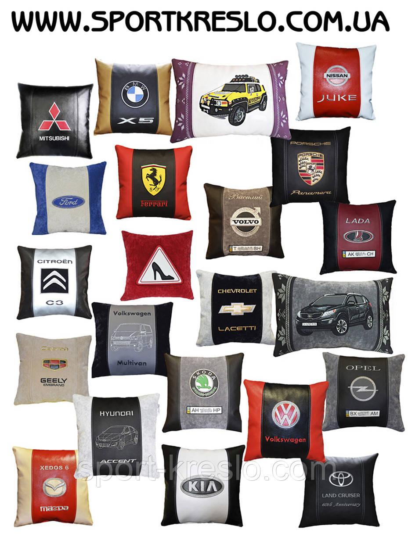 Автомобильная сувенирная подушка в машину с автологотипом