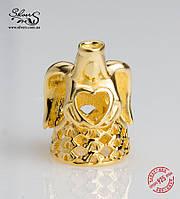 """Серебряная подвеска-шарм Пандора (Pandora) """"Золотой ангел"""" для браслета"""