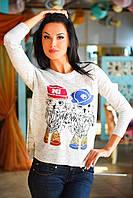 Молодежный женский свитер с модным принтом и разрезами по бокам коттон акрил