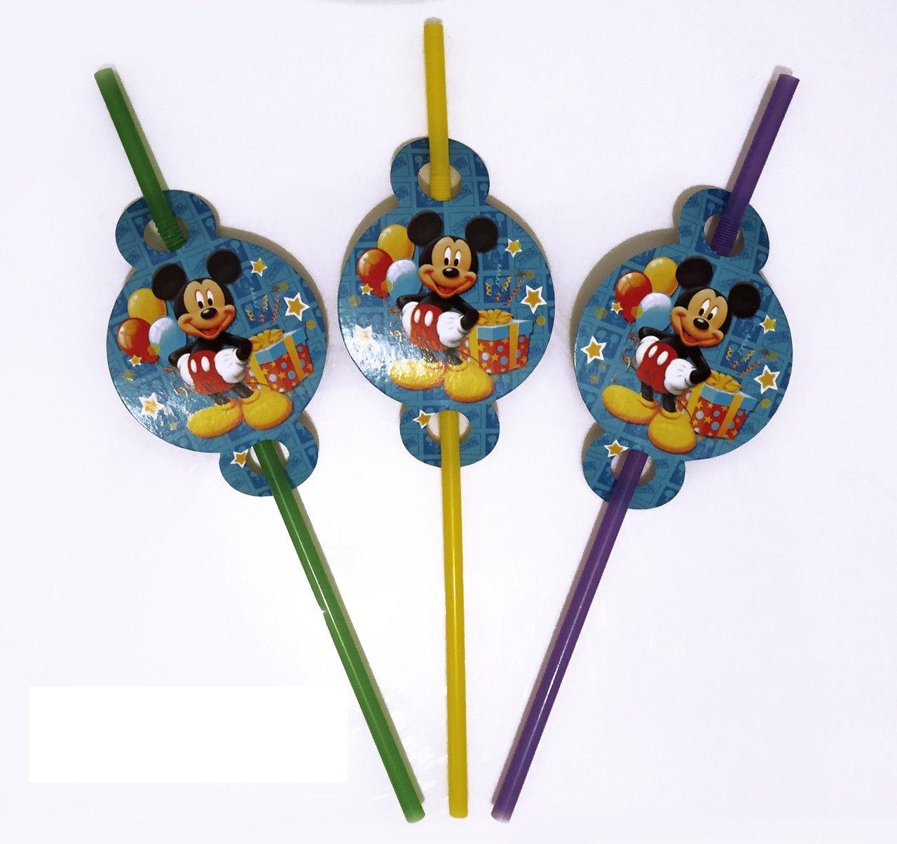 """Коктейльні трубочки з гофрою """"Міккі Маус"""", 8 шт/уп."""