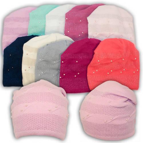 Вязаная шапка с бусинками, для девочки, 1174