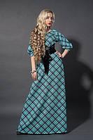 Длинное платье мод 387-11, бирюза клетка , размер  50, фото 1