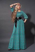 Длинное платье мод 387-6, бирюза клетка , размеры 48, 50, фото 1