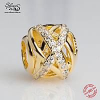 """Серебряная подвеска-шарм Пандора (Pandora) """"Золотая галактика"""" для браслета"""