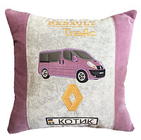 Подушка с логотипом и Вашим силуэтом авто в машину, подарок мужчине