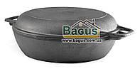 Жаровня чугунная 260х66 мм с литыми ручками и чугунной крышкой-сковородой Биол (03261-2)