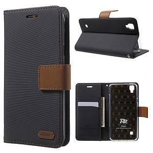 Чехол книжка для LG X Skin F740L боковой с отсеком для визиток, ROAR KOREA Twill Grain, Черный