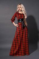 Длинное платье мод 387-10, красная  клетка , размеры :52.54, фото 1