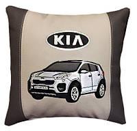 Подушка в авто с логотипом и Вашим авто в машину киа, kia
