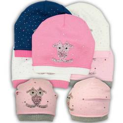 ОПТ Вязаная шапка с камнями, для девочки, B29 (5шт/упаковка)