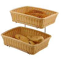 Корзинка для хлеба и булочек прямоугольная 360x270x(H)90 мм компл. 2 шт. со стеллажом Hendi 561201