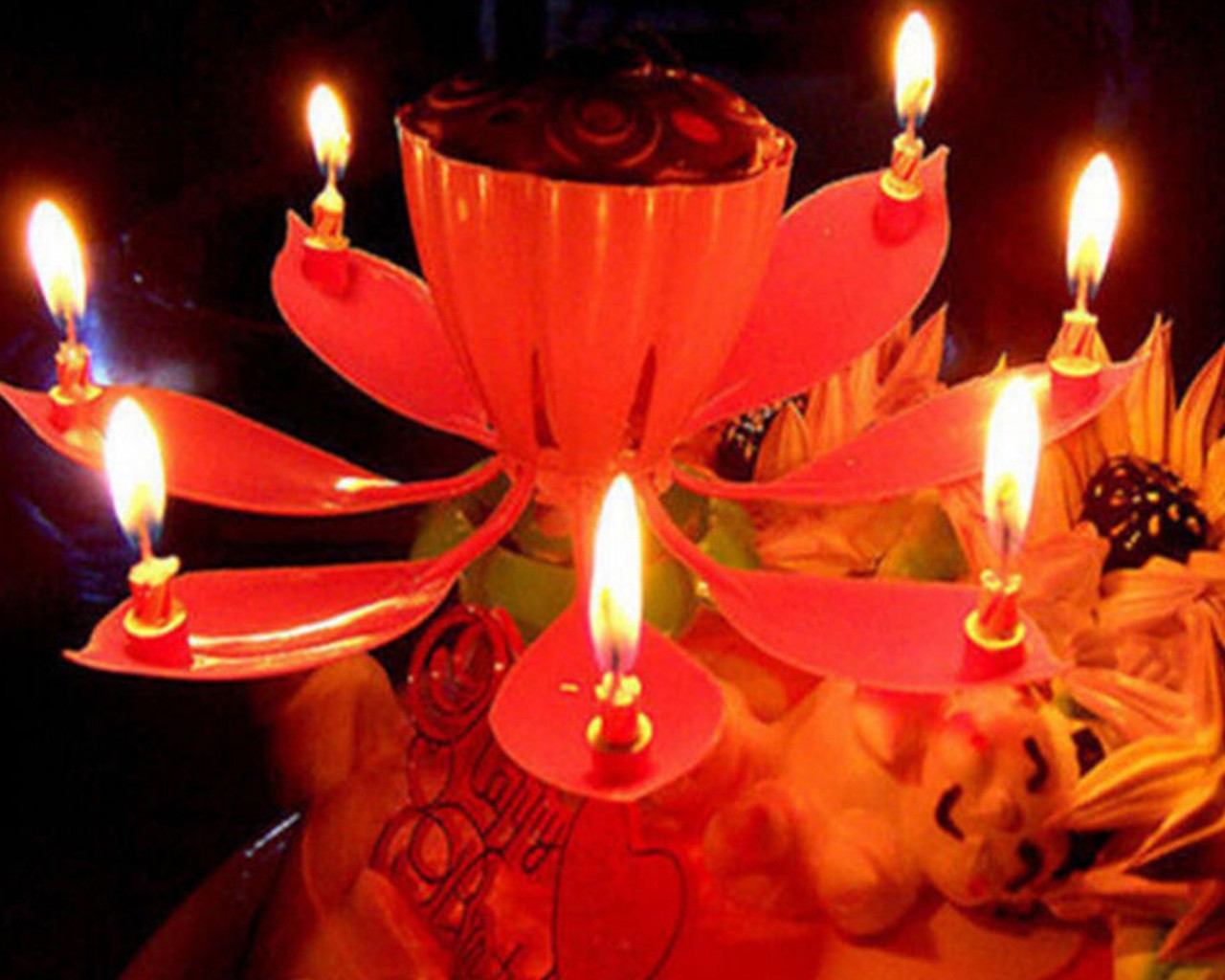 Свеча на торт музыкальная Лотос