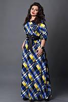 Длинное платье мод 487-7, синий/желтый, размеры 50,52,54,56, фото 1