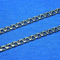 Серебряная цепочка плетения Бисмарк 50 см, черненая
