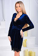 Бархатное платье с декольте отделка кружевом 9019 (ВИВ)