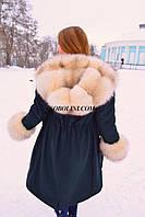 Парка с мехом Blue-frost цвет джинс-коттон зеленый,утеплитель мех бобра,S,M