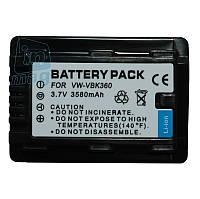 Аккумулятор для видеокамеры Panasonic VW-VBK360, 3580 mAh.