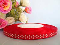 Атласная лента в горошек 0,6 см, цвет красный