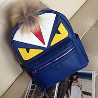 Кожаный синий рюкзак FENDI портфель фенди женский