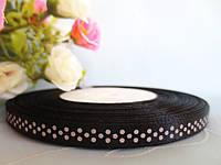 Атласная лента в горошек 0,6 см, цвет черный